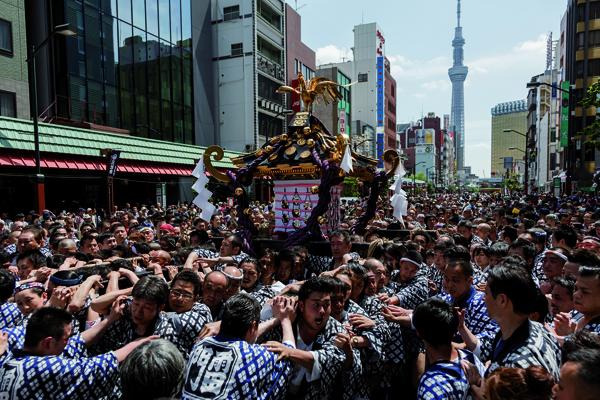 Il Sanja Matsuri, a Tokyo, uno dei più importanti festival shinto del Paese, si svolge in onore della dea Kannon. (Jérémie Souteyrat per Zoom Giappone)